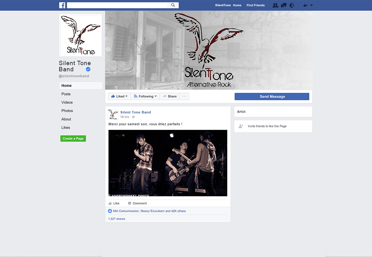 Page Facebook groupe Rock
