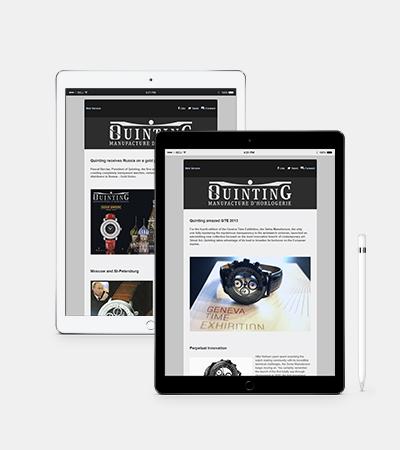 Newsletters pour la manufacture horlogère Quinting par Laura Maschio